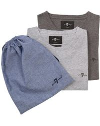 7 For All Mankind - 2 Pack T-shirts Light & Dark Grey - Lyst