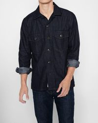 7 For All Mankind - Long Sleeve Denim Military Shirt In Dark Indigo Rinse - Lyst