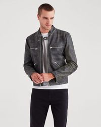 7 For All Mankind - Café Racer Jacket In Black With Natural Ground - Lyst