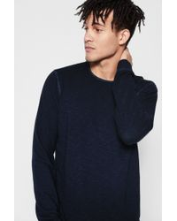 7 For All Mankind - Long Sleeve Raw Crew Neck Tee Cotton Red - Lyst