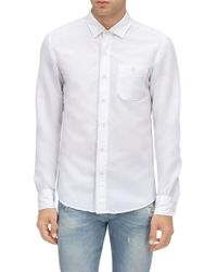 7 For All Mankind - Button Down Shirt Cotton Linen White - Lyst