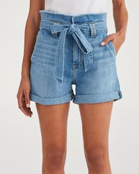 7 For All Mankind Paperbag Waist Short Bright Blue Jay