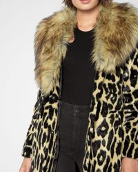 7 For All Mankind - Long Faux Fur Coat In Ocelot - Lyst