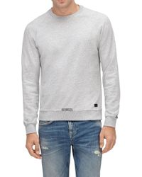 7 For All Mankind - Crew Neck Sweat Cotton Distressed Grey Melange - Lyst