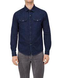 7 For All Mankind - Western Shirt Denim Deep Blue - Lyst