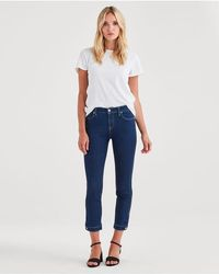 7 For All Mankind - High Waist Roxanne Ankle Avant Rinse With Keyhole Hem - Lyst