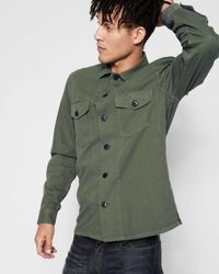 7 For All Mankind - Long Sleeve Military Shirt In Fatigue - Lyst