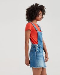 7 For All Mankind - Mini Skirt Overall With Destroy In Desert Oasis - Lyst
