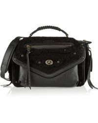 Coach Rhyder Leather Shearling and Nubuck Shoulder Bag - Lyst