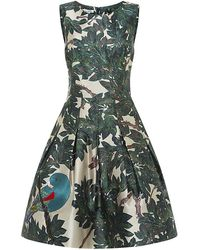 Oscar de la Renta Parrot Embroidered Mikado Dress - Lyst