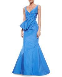 Oscar de la Renta Fold-Pleated Sash-Detailed Silk Mermaid Gown - Lyst