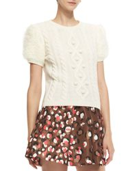 RED Valentino Aran Short-sleeve Cable-knit Pullover - Lyst