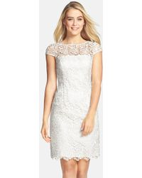 Adrianna Papell Lace Shift Dress - Lyst