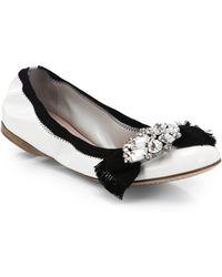 Miu Miu Jeweled Patent Leather Ballet Flats - Lyst