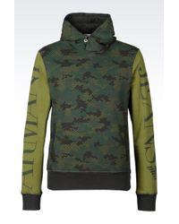 Armani Jeans Hooded Sweatshirt With Logo Pattern - Lyst