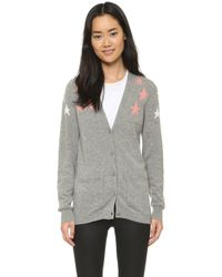 Chinti & Parker | Shoulder Star Cashmere Cardigan - Grey/pink/cream | Lyst