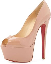 Christian Louboutin Jamie Patent Red Sole Platform Pump - Lyst