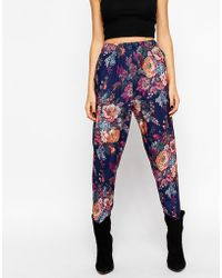 Asos Peg Pants In Tapestry Floral Print - Lyst