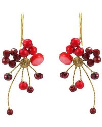 Aeravida - Abstract Star Cluster Red Stone Crystal Brass Earring - Lyst