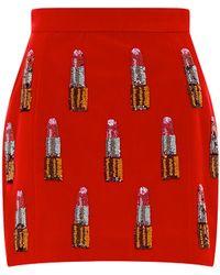 House Of Holland Velvet Lipstick Skirt - Lyst