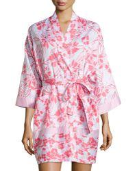 Oscar de la Renta Tiger Lily-Print Short Robe - Lyst