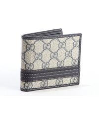 Gucci Blue and Grey Gg Canvas Bifold Wallet - Lyst