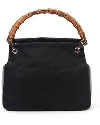 Gucci Black Bamboo Nylon Handbag - Lyst