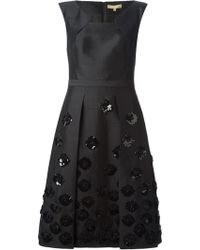 Michael Kors Pleated Front Embellished Dress - Lyst