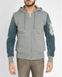 DIESEL | Dual-fabric S-mirr Denim Sleeves Baseball Jacket | Lyst