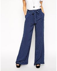 Asos Reclaimed Vintage Co-Ord Wide Leg Trouser In Spot With Tie Front - Lyst