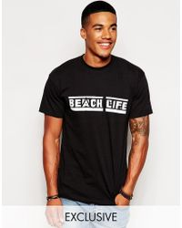 Reclaimed (vintage) T-Shirt With Beach Life Print - Lyst