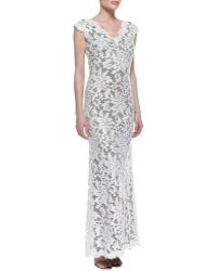 Tadashi Shoji Capsleeve Sequined Lace Overlay Gown - Lyst