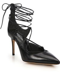 Michael Kors | Gabby Point-toe Leather Lace-up Pumps | Lyst