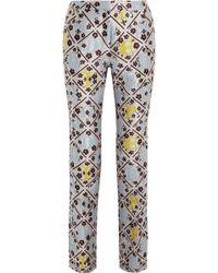 Mary Katrantzou Jq Silk-Blend Jacquard Slim-Fit Pants - Lyst