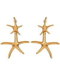 Oscar de la Renta Starfish Gold-Plated Drop Earrings - Lyst