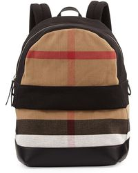 Burberry Check  Leather Backpack - Lyst
