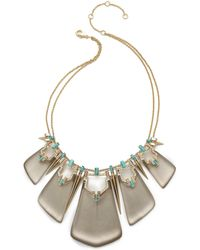 Alexis Bittar Baguette Spiked Bib Necklace - Warm Grey - Lyst