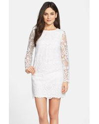 French Connection 'Nebraska' Embroidered Crepe Shift Dress - Lyst