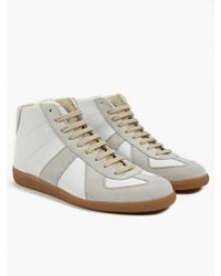 Maison Margiela 22 Men'S White Leather And Suede Hi-Top Replica Sneakers - Lyst