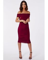 Missguided Slana Slinky Ruched Dress - Lyst