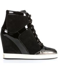 Jimmy Choo Black Patent Leather And Suede 'Panama' Wedge Sneakers - Lyst