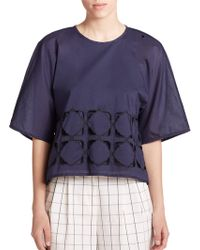 Tibi Embroidered Mosaic Cutout Top blue - Lyst