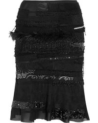 Junya Watanabe Embellished Patchwork Crepe and Tulle Skirt - Lyst