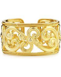 Eli Jewels Harmony 18k Gold Hinged Cuff Bracelet - Metallic