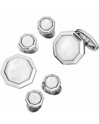 Jan Leslie - Mother-Of-Pearl Octagonal Cuff Link & Stud Set - Lyst