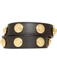 Versace Black Leather Wrap Bracelet - Lyst