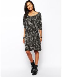 Diesel Printed Dress with Gathered Waist - Lyst