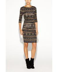 Nicole Miller Christina Gilded Stripe Dress - Lyst