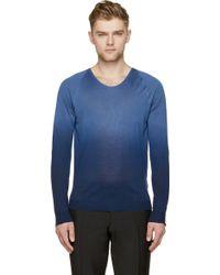 Burberry Prorsum Blue Gradient Silk Knit Sweater - Lyst
