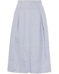 Tibi Striped Pleated Cotton Skirt - Lyst